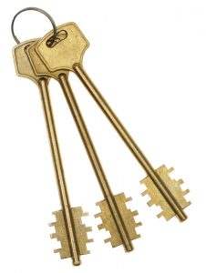 Three gold keys